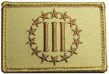 3 % III PERCENT DEFEND LIBERTY NRA US USA TACTICAL VELCRO DESERT MORALE PATCH