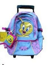 Tweety backpack Rolling mid size toddler School bag Free Wallet Looney Tunes new