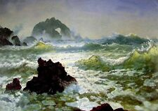 "Art Oil painting seascape Seal Rock California & ocean waves canvas 24""x36"""