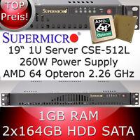 1U / 1HE Supermicro Server • AMD Opteron 64 2.26 GHz • 1GB RAM • 2 x 164GB HDD