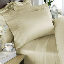 SUPER KING SIZE IVORY SOLID BED SHEET SET 1000 THREAD COUNT 100% EGYPTIAN COTTON