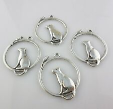 10pcs Tibetan Silver  Mouse and Cat Charms Pendants Jewelry Findings 26x32mm