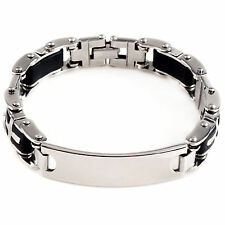Cool Mens Rubber Silver ID Cross Stainless Steel Chain Bracelet link Bangle New