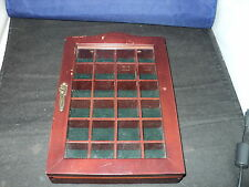 Thimble wooden display cabinet case holds 24 thimbles code c24 glass door