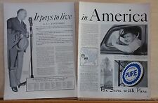 1940 two page magazine ad for Pure Oil, H.V. Kaltenborn, Pays to Live In America
