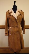 Genuine Shearling Trench Coat Women S/M Sheepskin Wool Coat Vtg Western Ranch EX