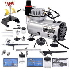 New 3 Airbrush & Compressor Kit Dual-Action Spray Air Brush Set Tattoo Nail