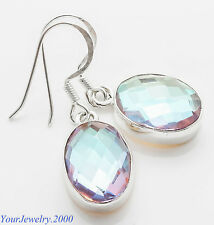"""Rare Rainbow Mystic Topaz  - 925 sterling silver stamped earrings 1 3/8"""" long"""