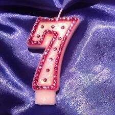 7th Seventh Birthday (seven) CANDLE Diamante Bling Pink Princess Party FREEPOST