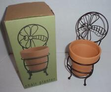 Bee Motif Wire Garden Chair Planter Stand with Pot - New in Box