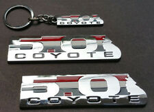 Combo KeyChain Chrome COYOTE 5.0 Emblem Door Fender Badge Sticker Ford Mustang