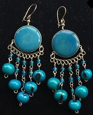 BohoCoho Quirky Lagenlook Boho Gypsy Blue / Teal & Silver Tagua Dangle Earrings