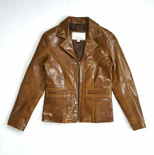 WILSONS LEATHER MAXIMA Shiny Brown Zip Up Bomber Officer Riding Jacket Coat S