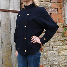 Vintage 1980s Escada Crisca Wool Cashmere Embroidered Military Jacket S M