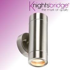 Knightsbridge Double Outdoor IP65 Stainless Steel Up and Down Wall Light GU10