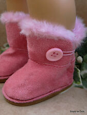 "PINK Fur-Trimmed EWE Button DOLL BOOTS SHOES fits 18"" AMERICAN GIRL Doll Clothes"