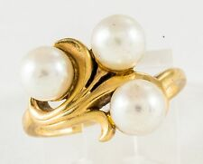 ART NOUVEAU 14K  SOLID GOLD THREE PEARLS in a SWIRL RING