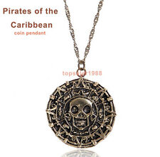 Pirates of the Caribbean Movie charm retro antique gold coin pendant necklace