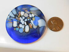 Dichroic Glass Cobalt Sky Blue Round Art Glass Brooch Pin 8L 26