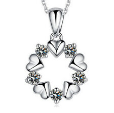 Fashion Jewelry 925 Sterling Silver Heart Crystal Necklace Pendant Nice Gift