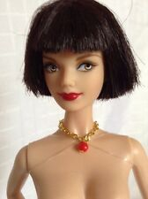 BARBIE SHORT RAVEN HAIR AND RED BOW, NUDE DOLL, MODEL MUSE