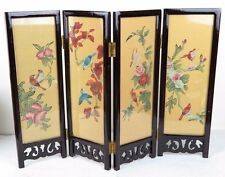 "Chinese Folding Glass Screen Picture Art Flowers Birds Landscape 12"" x 16.5"" New"