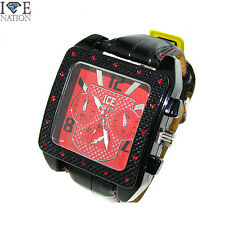 New Men's Ice Nation Hip Hop Designer style Pave Leather band  watch #1004 New
