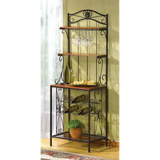 BAKER'S STYLE WINE AND GLASS RACK HOME DECOR KITCHEN WOOD & METAL NEW~34775