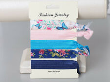 Pack of 5 elastic knotted knot hair tie blue and pink patterns