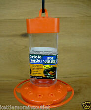 First Nature 32 oz Orange Plastic Oriole Feeder #3088 10 Ports Easy Clean Base