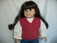 """18"""" Doll Knitting Pattern will fit American Girl Classic V-neck Vest"""
