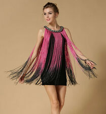 GREAT GATSBY OMBRE PINK FRINGE BEADED 1920s FLAPPER CHARLESTON DRESS XS AUS 6