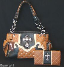 Montana West Rustic Couture Spice  Handbag w/FREE Matching Wallet ~Cross