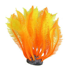 Orange Yellow Artificial Silicone Manmade Coral Shape Ornament For Fish Tank LW