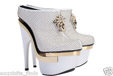$2445 New VERSACE White Leather Triple Platform Studded Bootie Boots 40 - 10
