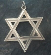 Attractive Large Silver Star Of David Pendant c.1970s