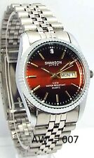 Swanson Men Silver-Burgundy Dial, 1 Sapphire-Crystal, Dress Watch