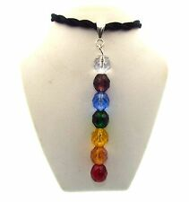 Large Crystal Glass Chakra Column Pendant & Silk Thong