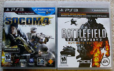 PS3 Game Lot - SOCOM 4 U.S. Navy Seals (Used) Battlefield Bad Company 2 (New)