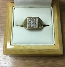9ct Yellow Gold Gents Rolex Style Diamond Signed Ring Size O L199