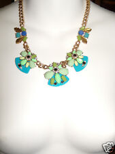 NWT J Crew Blue Green Black Cluster Floral Statement Necklace Gemstone NEW