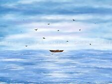 PAINTING EMPTY ROWING BOAT GULLS SEA WAVES OCEAN BLUE POSTER PRINT BMP10612