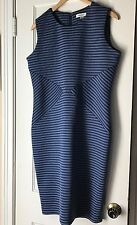 Calvin Klien Dress 14 Twilight Blue Tin Gray Striped Sheath Career
