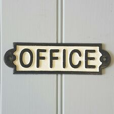 Solid Metal Iron Office Wall Plaque Sign Shabby Chic Vintage Style Gift