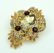 Luxury Vintage Style Golden Shadow Wedding Bouquet Shiny Brooch Pin BR276