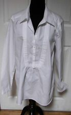 Coldwater Creek Long Sleeve Pleat Partial Button Front White Tunic Shirt Large L
