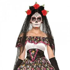 Ladies Day of the Dead VEIL Halloween Fancy Dress Costume Accessory