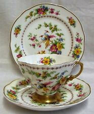 Vintage Frank Buckley Birds & Flowers Trio Cup, Saucer & Side Plate