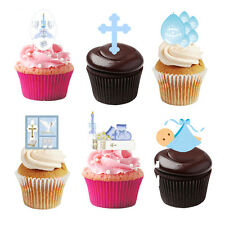 30 Stand Up Baby Boy Christening Edible Wafer Paper Cupcake Cake Toppers