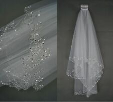 New 2 Tier White  Elbow Sequins Beaded Edge Wedding Bridal Veil With Comb